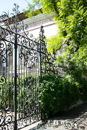 puertas de hierro: Nueva puertas de hierro forjado y los árboles verdes y arbustos Foto de archivo
