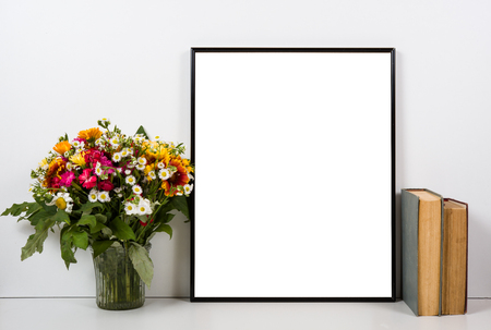 styled: Styled tabletop, empty frame, painting art poster interior mock-up isolated closeup