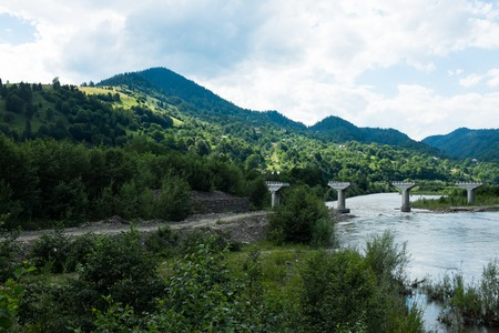 carpathian mountains: Landscapes of the Carpathian Mountains, natural green forest view