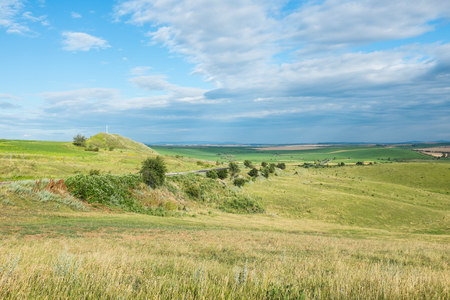 Summer landscape, a spacious yellow field and sky with clouds in Ukraine Stock Photo