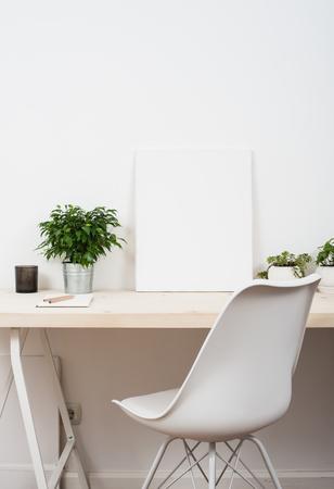 Scandinavian style startup work space, white minimalist office, modern business interior.