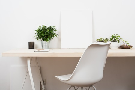 interior layout: Scandinavian style startup work space, white minimalist office, modern business interior.
