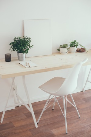 work from home: Scandinavian style startup work space, white minimalist office, modern business interior.
