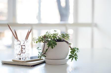 Impianto di casa, blocco note aziendale e smartphone sul tavolo in una retroilluminazione con spazio di copia Archivio Fotografico