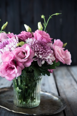 Bouquet of pink flowers in a vase eustoma and chrysanthemum bouquet of pink flowers in a vase eustoma and chrysanthemum elegant vintage rustic home mightylinksfo