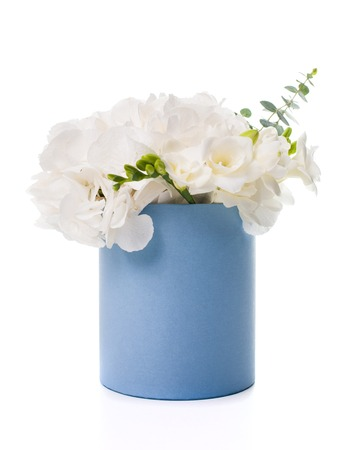 selebration: Bouquet of white hydrangeas in round  blue box on white background