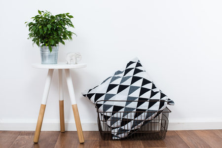 Scandinavian home interior decoration, simple decor objects and furniture, minimalist white room