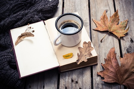 write: Open empty vintage book, knitted sweater with autumn leaves and coffee mug on old wooden board background Stock Photo