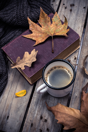 hojas antiguas: Old book, knitted sweater with autumn leaves and coffee mug on vintage wooden board background Foto de archivo