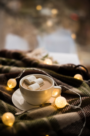 Cozy winter home, cup of coffee with marshmallows, warm blanket and Christmas lights Stock Photo