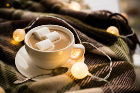 cup of coffee: Cozy winter home, cup of coffee with marshmallows, warm blanket and Christmas lights Stock Photo