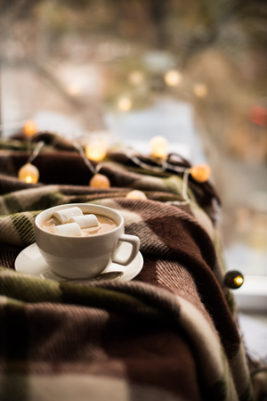 cozy winter home cup of coffee with marshmallows warm blanket and christmas lights stock