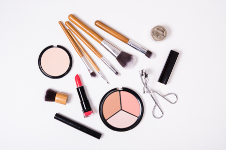 Professional makeup brushes and tools, make-up products kit, flatlay on white background Stock fotó - 68889184