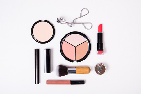 Professional makeup brushes and tools, make-up products kit, flatlay on white background Stock fotó - 68889186