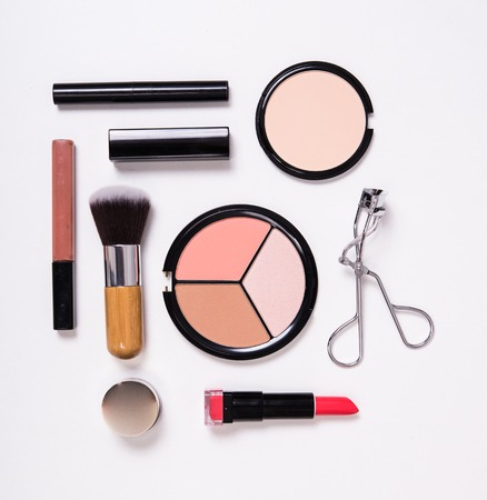 flat brush: Professional makeup brushes and tools, make-up products kit, flatlay on white background