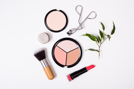 Professional makeup brushes and tools, make-up products kit, flatlay on white background
