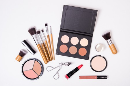Professional makeup brushes and tools, make-up products kit, flatlay on white background Zdjęcie Seryjne - 68889195