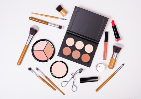 Professional makeup brushes and tools, make-up products kit, flatlay on white background Stock fotó - 68889212