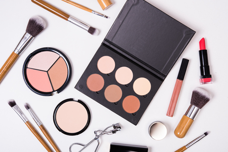 make up eyes: Professional makeup brushes and tools, make-up products kit, flatlay on white background