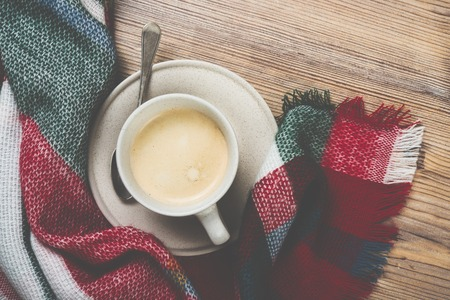 hot drink: Cozy home coffee cup, warm details Stock Photo