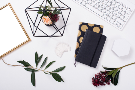 White feminine tabletop flatlay Stock Photo