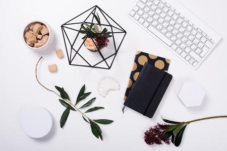 White feminine tabletop flatlay Standard-Bild