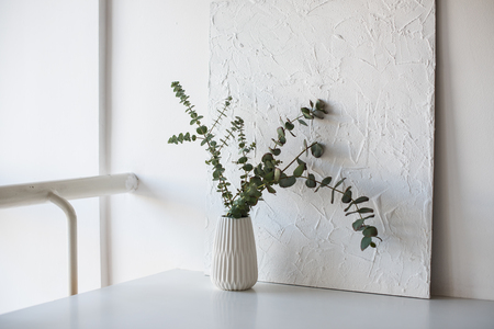 Branches in vase on table in white room Stockfoto