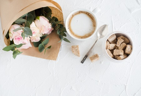 feminine background: Romantic feminine background with coffee and roses