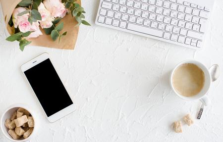 elegant lady blogger workspace
