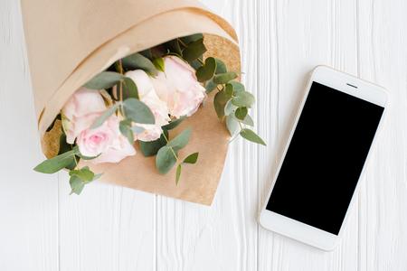 feminine background: Simple feminine background with smartphote Stock Photo
