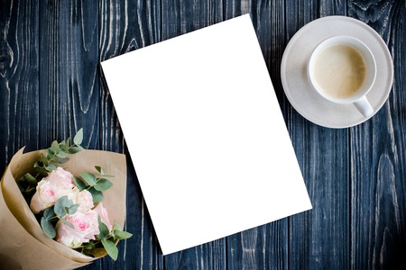 styled background with coffee, smartphote, roses and magazine co Stock fotó - 75045506