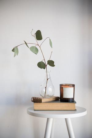 Minimalistisch stilleven met bladeren in een glazen fles