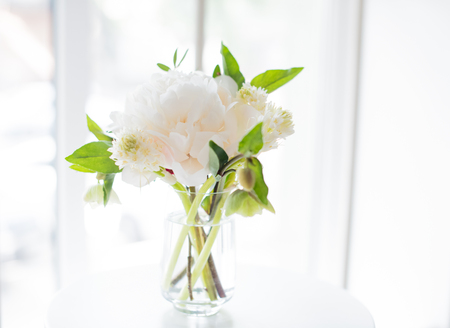 arrangements: white peony flowers on coffee table in white room interior, brig