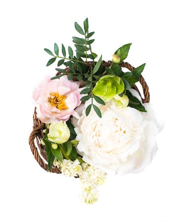 Wedding arrangement with peony flowers ion white background