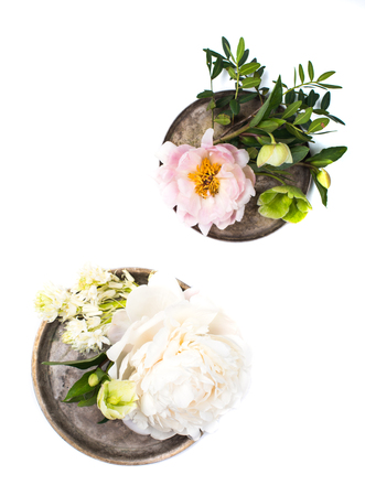 Wedding arrangement with peony flowers ion white background isol