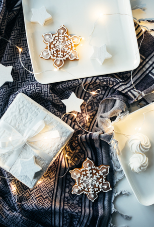 White Christmas gifts and decorations, presents and sweet ginger