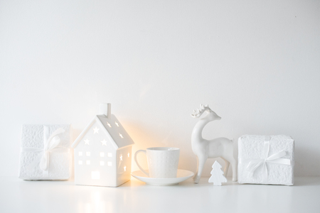 White Christmas gifts and interior decorations, presents and hol