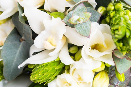 Sophisticated bridal bouquet of flowers, white freesias and orchids on a white background isolated Zdjęcie Seryjne