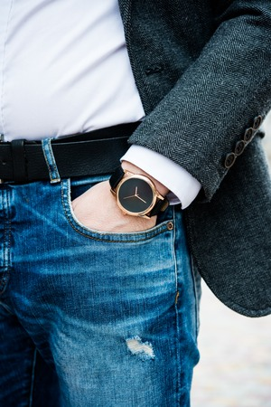 Elegant young business mans hand with fashion no brand