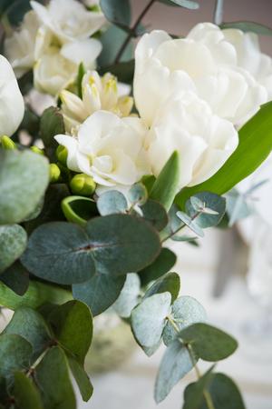 Elegant bouquet of white freesias, tulips and hyacinth, beautiful bouquet of flowers Zdjęcie Seryjne