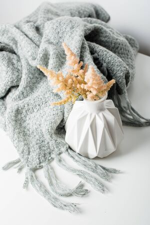 Small bouquet of flowers in vase with blanket Stockfoto