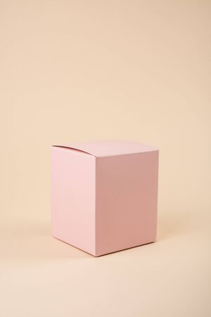 Empty space pink box mock-up, closed present box