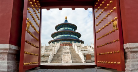 Opening Chinese gate, welcome to Temple of Heaven, Beijing, China