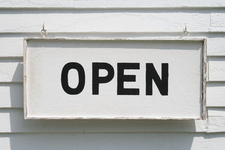 Vintage Open Sign, black on white