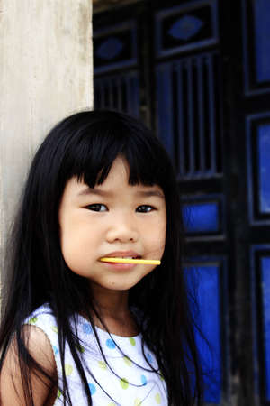 asian girl with lolipop photo