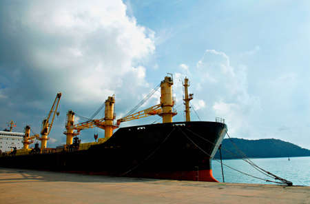 Cargo ship loading containers, Phuket, Thailand Stock Photo - 9502784