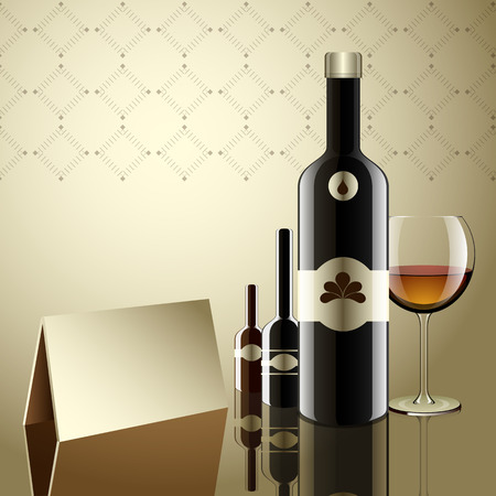 Realistic vector bottles  glass and reflection luxury style with paper triangle for reserve on table  Vector