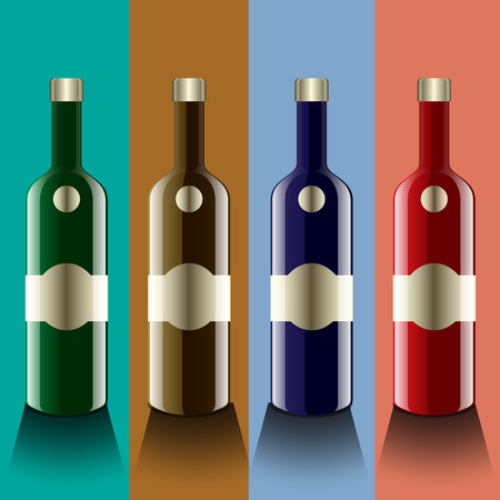glass reflection: Realistic vector bottles  glass and reflection luxury style with 4 colorful to use