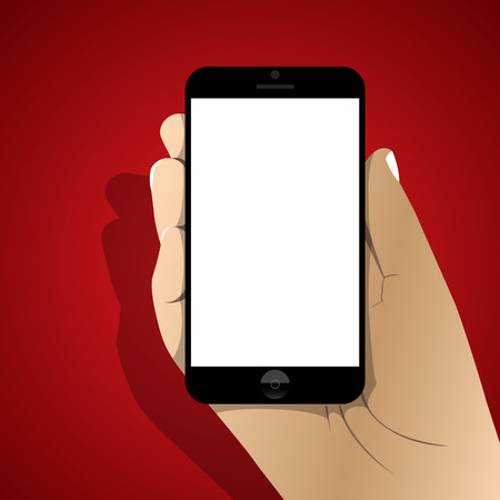 smartphone in hand  icon with shadow  vector illustration   Vector