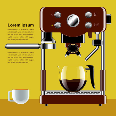 Realistic coffee machine with cup  vector illustration  Vector